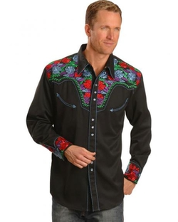 Floral Embroidered Retro Western Shirt by Scully in Vacation