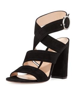 Suede Crisscross Block-Heel Sandals by Gianvito Rossi in Elementary