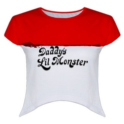 Daddy's Lil Monster Crop Top by Much Needed Merch in Suicide Squad