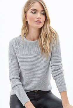 Ribbed Crew Neck Sweater by Forever21 in If I Stay