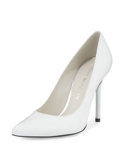 Nouveau Leather Pointed-Toe Pump, White by Stuart Weitzman in Scarface