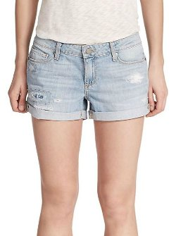 Jimmy Distressed Denim Shorts by Paige in While We're Young