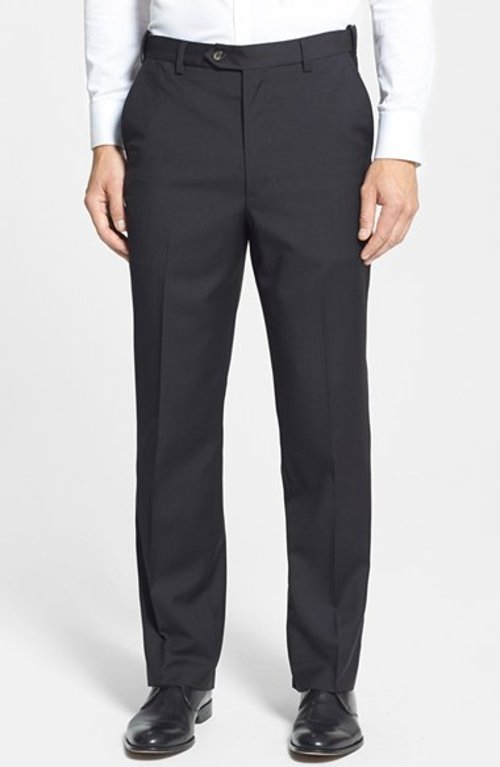 Self Sizer Waist Flat Front Wool Trousers by Berle in Pitch Perfect 2