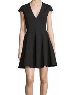 Heritage Cap-Sleeve V-Neck Fit-&-Flare Dress by Halston in Designated Survivor