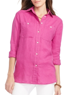 Linen Button-Down Shirt by Lauren Ralph Lauren in Clueless