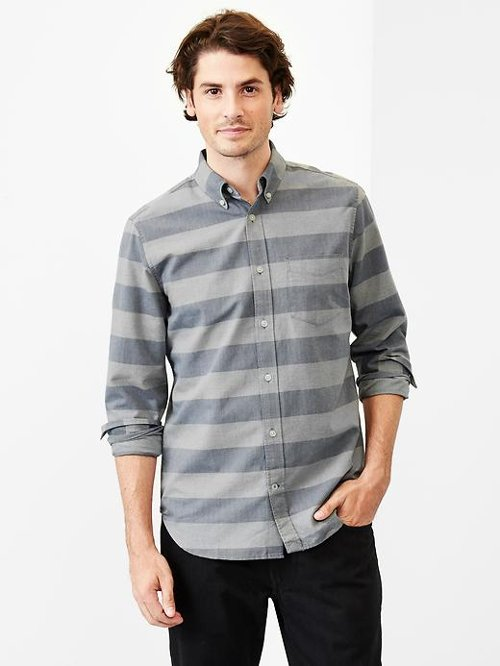 Horizontal Stripe Oxford Shirt by Gap in That Awkward Moment