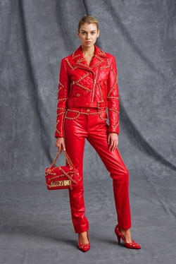 Resort 2016 Red Chain Jacket by Moschino in Empire
