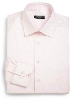 Classic-Fit Cotton Twill Dress Shirt by Saks Fifth Avenue Collection in Regression