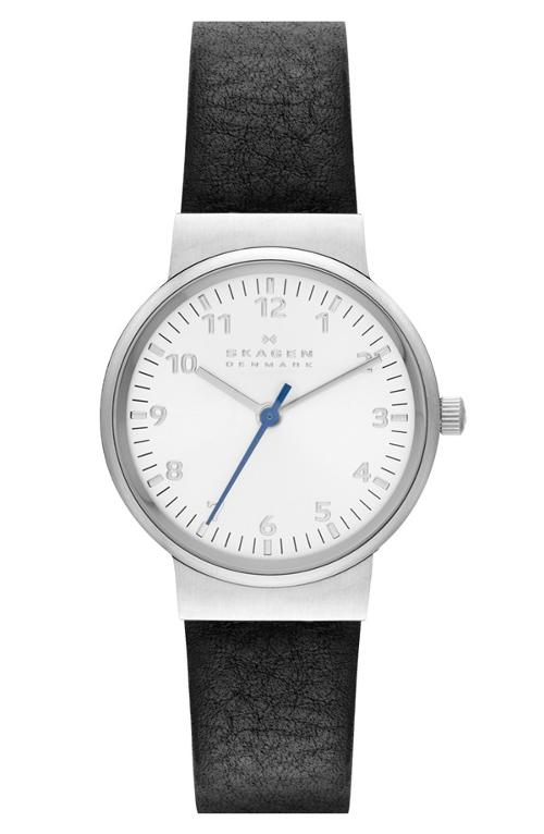 'Ancher' Round Leather Strap Watch by Skagen in Into the Storm