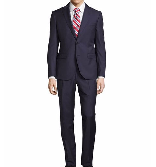 Tailored-Fit Solid Two-Piece Suit by Neiman Marcus in The Good Place - Season 1 Preview