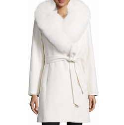 Fur-Collar Belted Wrap Coat by Sofia Cashmere in Empire