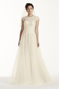 Cap Sleeve Tulle Wedding Dress by Oleg Cassini in New Girl