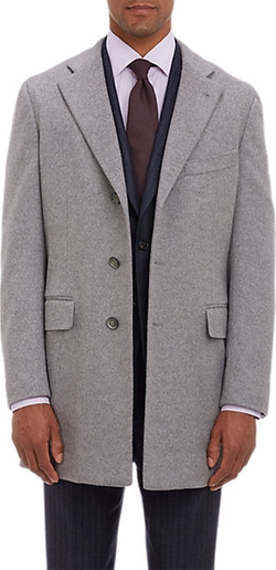 Melton Three-Button Overcoat by Isaia in Survivor