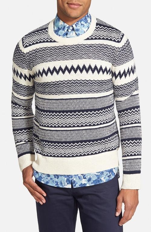 Jacquard Knit Crewneck Sweater by Gant Rugger in Steve Jobs