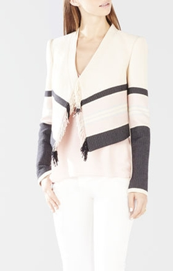 Walker Fringe-Front Woven Jacquard Jacket by BCBGMAXAZRIA in Quantico