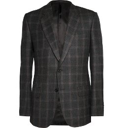 Charcoal Brushed-Wool Window-Pane Checked Blazer by Kingsman for Mr. Porter in Kingsman: The Secret Service