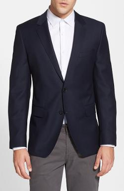 'James' Trim Fit Navy Wool Blazer by Hugo Boss in Unbroken