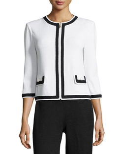 Contrast-Trim Zip-Front Jacket by St. John in How To Get Away With Murder