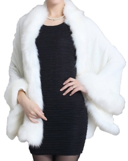 Faux Fox Fur Shawl Cloak Cape by Helan Apparel in Twilight
