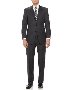 Two-Piece Pinstripe-Check Wool Suit by Hickey Freeman in Unfinished Business