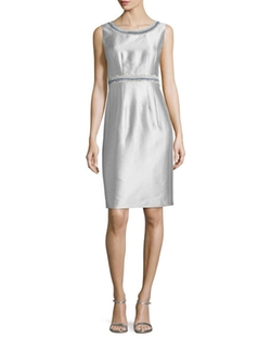 Sleeveless Sheath Dress W/ Embellished Trim by Lafayette 148 New York in Suits