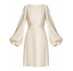 Waist-Tie Blouson-Sleeve Cady Dress by Chloé in Suits