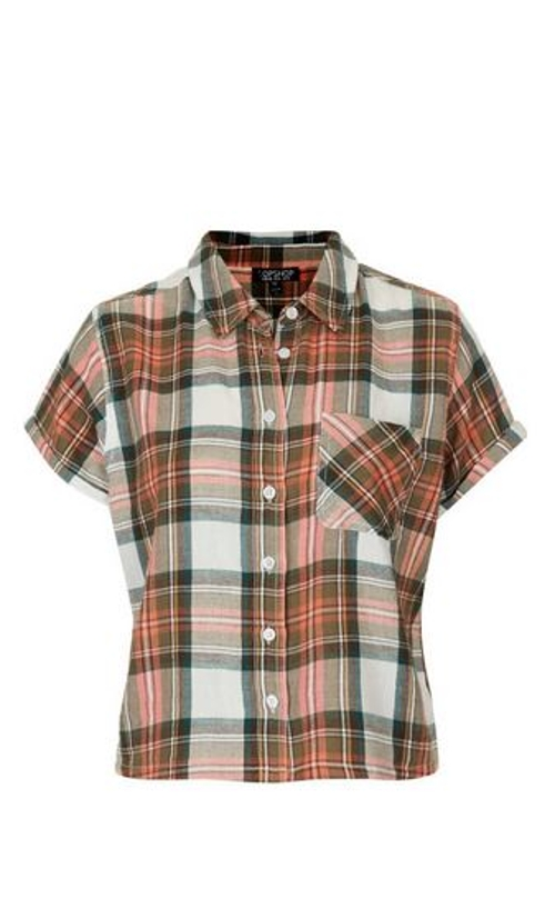 Plaid Short Sleeve Shirt by Topshop in If I Stay