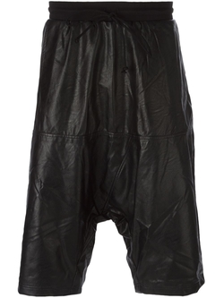 Faux Leather Drop Crotch Shorts by Lost And Found Rooms in Empire