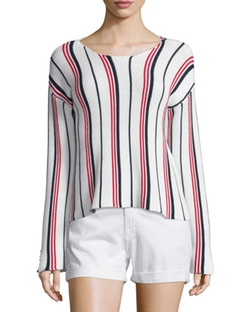 Le Cropped Long-Sleeve Striped Top by Frame Denim in Animal Kingdom