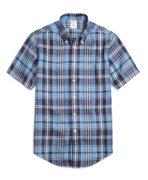 Plaid Linen Short-Sleeve Sport Shirt by Brooks Brothers in Vacation