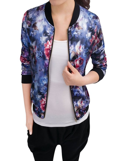 Floral Print Casual Bomber Jacket by Allegra K in Fuller House - Season 1 Episode 6