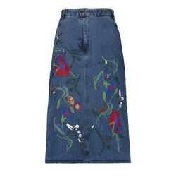 Marisol Embroidered Denim Midi Skirt by Tibi in Fuller House