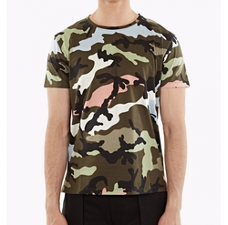 Multicolor Pink Camouflage Motif T-Shirt by Valentino in Ballers