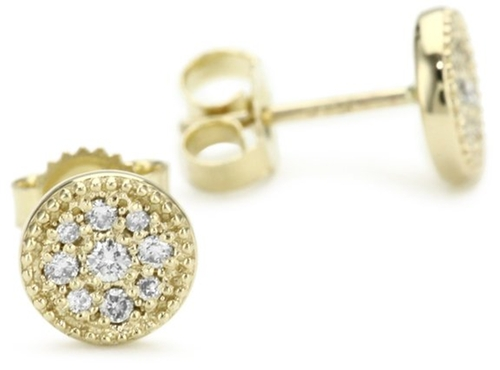 Petite Gold and Diamond Evil Eye Stud Earrings by Mizuki in Hall Pass