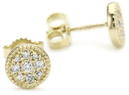 Petite Gold and Diamond Evil Eye Stud Earrings by Mizuki in Hall Pass