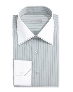 Contrast-Collar Striped Dress Shirt by Stefano Ricci in That Awkward Moment