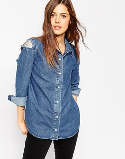 Denim Midwash Shirt With Rips by Asos in Pretty Little Liars