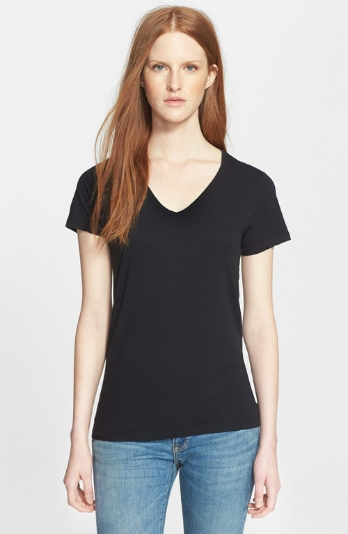 Cotton V-Neck Tee Shirt by Burberry Brit in Barely Lethal