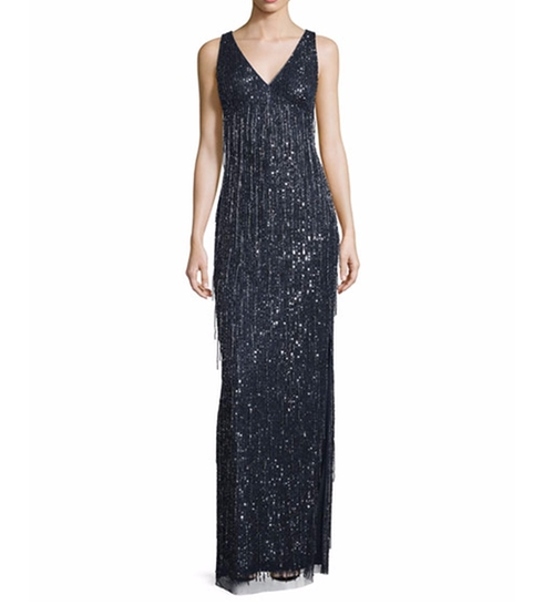 Sleeveless Beaded Fringe Column Gown by Aidan Mattox in Live By Night
