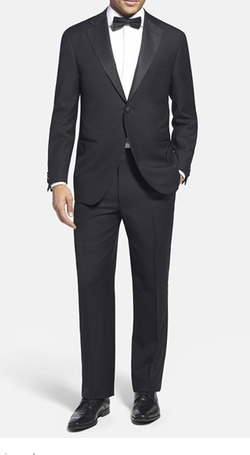 Trim Fit Wool Tuxedo Suit by Corneliani in Suicide Squad