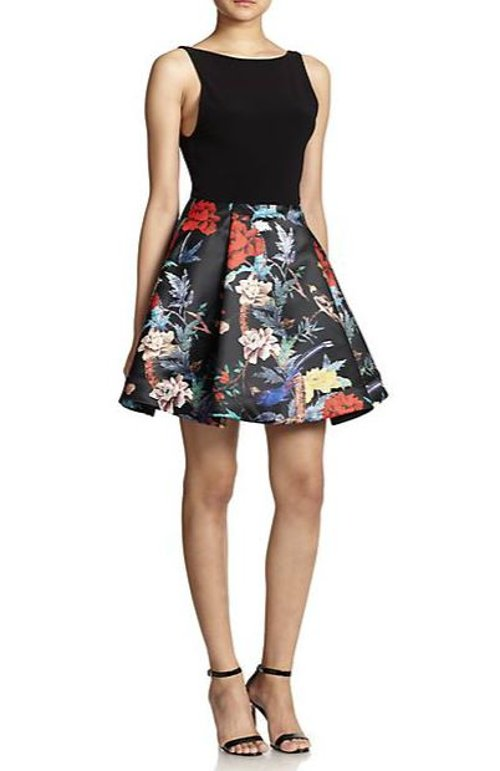 Amabel Floral Print-Skirt Dress by Alice + Olivia in Pitch Perfect 2