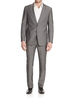 Two-Button Solid Wool Suit by Armani Collezioni in Ballers