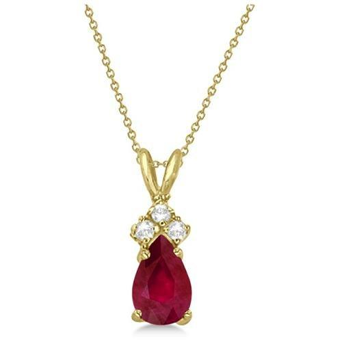 Pear Ruby & Diamond Solitaire Pendant Necklace by Rakuten in The Hundred-Foot Journey