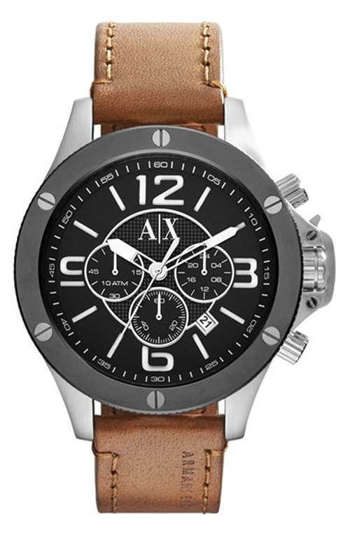 Chronograph Leather Strap Watch by AX Armani Exchange in Blackhat