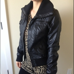 Sparkle & Fade Faux Leather Bomber Jacket by Urban Outfitters in Pretty Little Liars