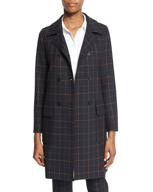 Abla Tile-Check Double-Breasted Coat  by Theory in How To Get Away With Murder - Season 3 Episode 1