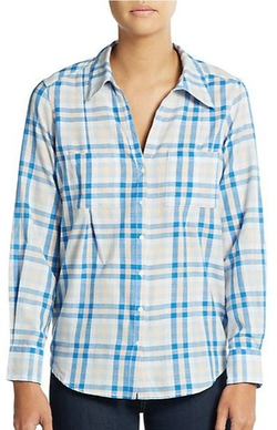 Cartel Plaid Roll-Sleeve Blouse by Joie in The Big Bang Theory