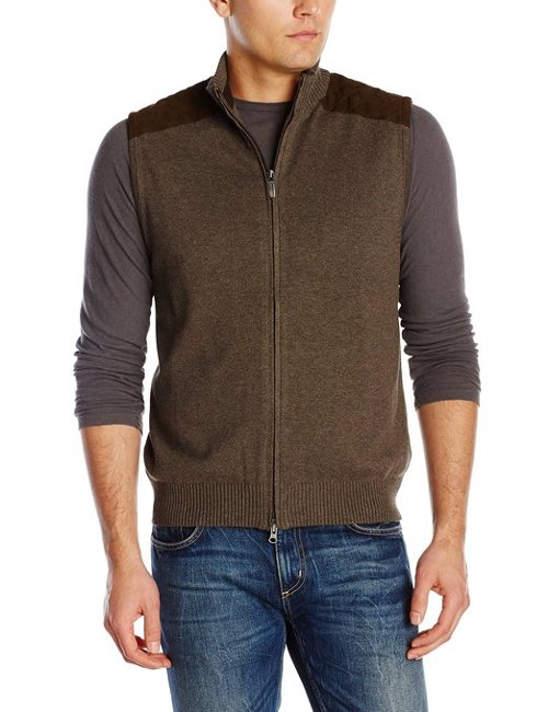 Men's Full Zip Vest Quilted Sweater by Alex Cannon in If I Stay