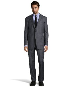 Pinstripe Super 150s Wool Suit by Hickey Freeman in John Wick