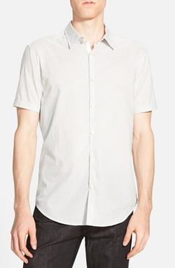 Trim Fit Short Sleeve Stripe Sport Shirt by John Varvatos Star USA in Black Mass